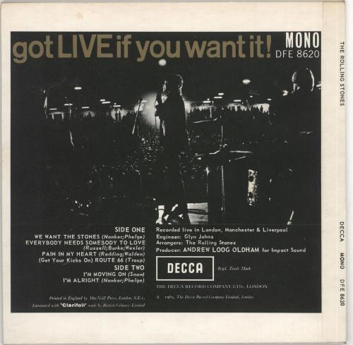 """Rolling Stones Got Live If You Want It EP - 2nd 7"""" vinyl single (7 inch record) UK ROL07GO724207"""