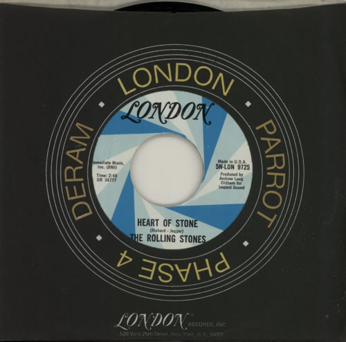 """Rolling Stones Heart Of Stone - 1st 7"""" vinyl single (7 inch record) US ROL07HE77915"""