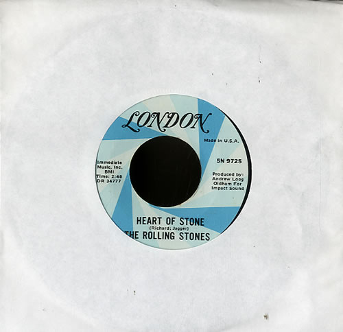 """Rolling Stones Heart Of Stone - 2nd 7"""" vinyl single (7 inch record) US ROL07HE593933"""
