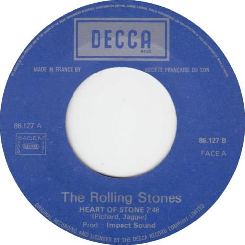"""Rolling Stones Heart Of Stone - Golden Hit-Parade Sleeve 7"""" vinyl single (7 inch record) French ROL07HE64385"""
