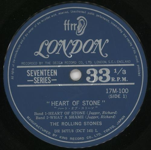 "Rolling Stones Heart Of Stone EP - ¥450 Price Marker 7"" vinyl single (7 inch record) Japanese ROL07HE737852"
