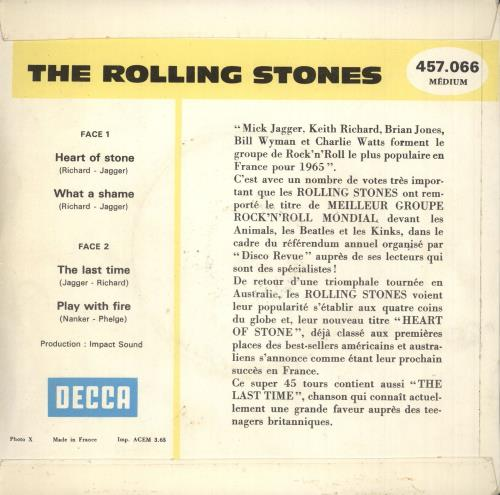 """Rolling Stones Heart Of Stone EP - 2nd 7"""" vinyl single (7 inch record) French ROL07HE55422"""