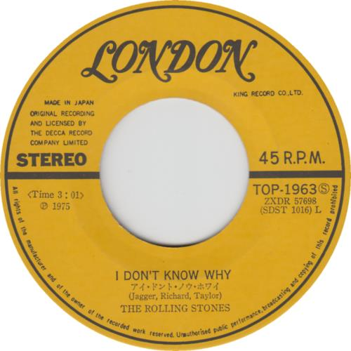 """Rolling Stones I Don't Know Why 7"""" vinyl single (7 inch record) Japanese ROL07ID577530"""