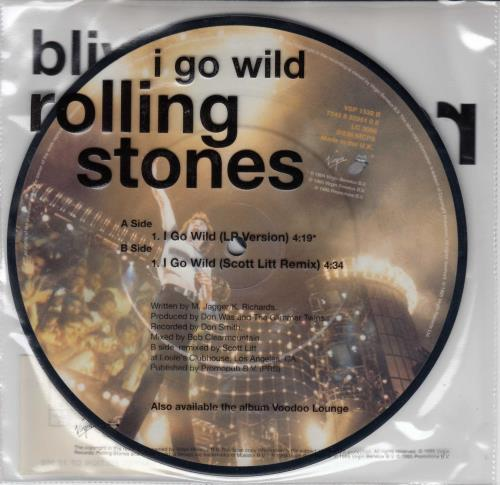 """Rolling Stones I Go Wild - Low Numbers 21~25 7"""" vinyl picture disc 7 inch picture disc single UK ROL7PIG512404"""
