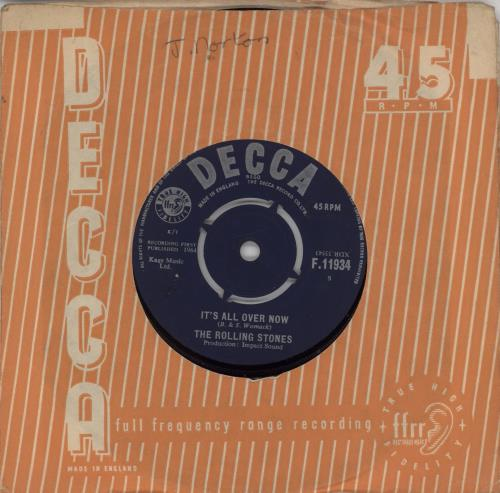 "Rolling Stones It's All Over Now - 1st - EX 7"" vinyl single (7 inch record) UK ROL07IT565951"