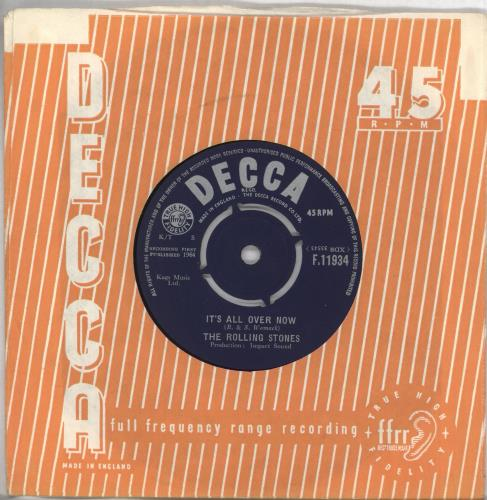 """Rolling Stones It's All Over Now - 1st - VG 7"""" vinyl single (7 inch record) UK ROL07IT568055"""