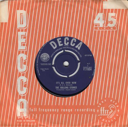 "Rolling Stones It's All Over Now - 2nd 7"" vinyl single (7 inch record) UK ROL07IT625613"
