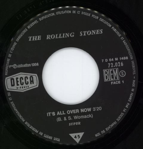"""Rolling Stones It's All Over Now 7"""" vinyl single (7 inch record) French ROL07IT777104"""