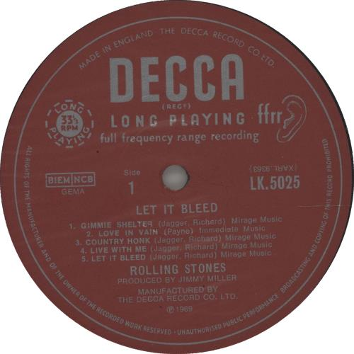 Rolling Stones Let It Bleed - 1st [3rd label variant] + Poster vinyl LP album (LP record) UK ROLLPLE665698