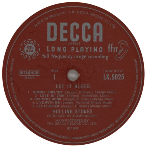 Rolling Stones Let It Bleed 1st 3rd Label Design Uk