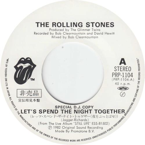 "Rolling Stones Let's Spend The Night Together 7"" vinyl single (7 inch record) Japanese ROL07LE658332"