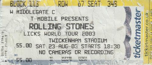Rolling Stones Licks World Tour 2002/03 + Ticket Stub tour programme UK ROLTRLI587001