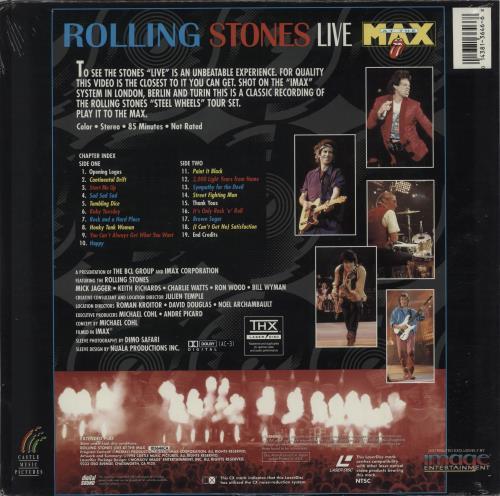 Rolling Stones Live At The Max laserdisc / lazerdisc US ROLLZLI668791