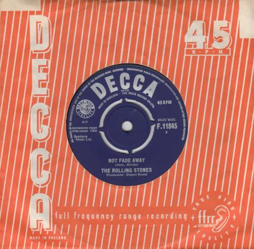 """Rolling Stones Not Fade Away - 1st 7"""" vinyl single (7 inch record) UK ROL07NO649317"""