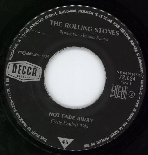 """Rolling Stones Not Fade Away 7"""" vinyl single (7 inch record) French ROL07NO777102"""