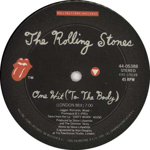 """Rolling Stones One Hit (To The Body) 12"""" vinyl single (12 inch record / Maxi-single) US ROL12ON26477"""