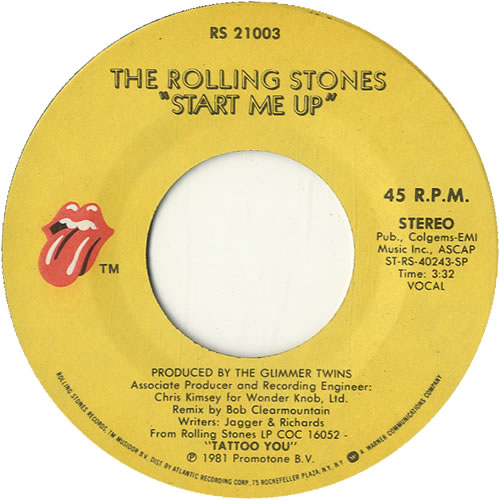 """Rolling Stones Start Me Up 7"""" vinyl single (7 inch record) US ROL07ST58360"""