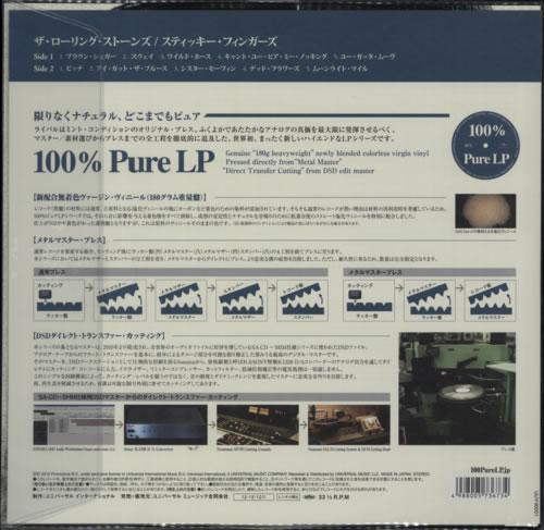 Rolling Stones Sticky Fingers - 180gram Clear Vinyl vinyl LP album (LP record) Japanese ROLLPST594112