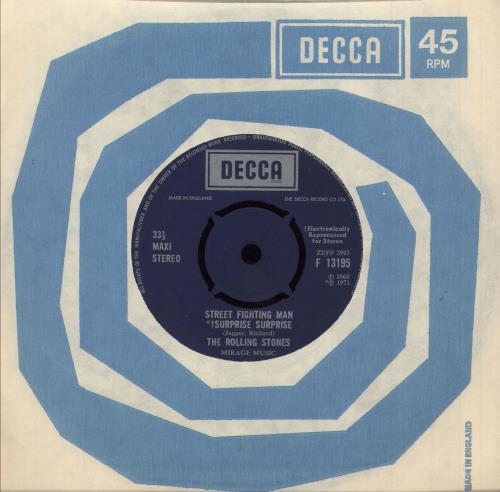 "Rolling Stones Street Fighting Man 7"" vinyl single (7 inch record) UK ROL07ST77299"