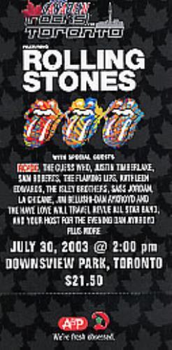 Rolling Stones Unused Concert Ticket memorabilia Canadian ROLMMUN270532