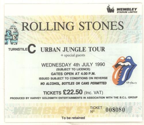 Rolling Stones Urban Jungle: Europe 1990 + 'Bud' insert & Ticket Stub tour programme UK ROLTRUR403202