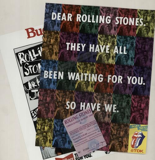 Rolling Stones Urban Jungle: Europe 1990 - 2 Inserts + Ticket Stub tour programme UK ROLTRUR626819