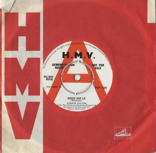 "Ronnie Hilton Kisses Can Lie 7"" vinyl single (7 inch record) UK HL307KI469891"