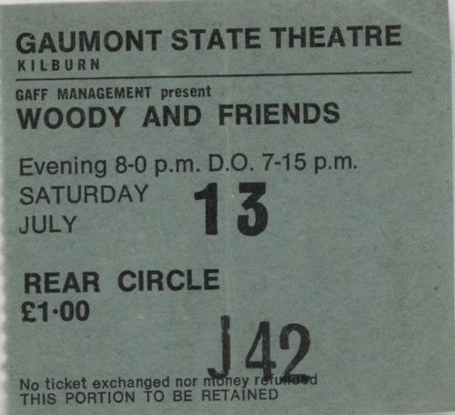Ronnie Wood Gaumont State Theatre - 1974 concert ticket UK RNWTIGA617569