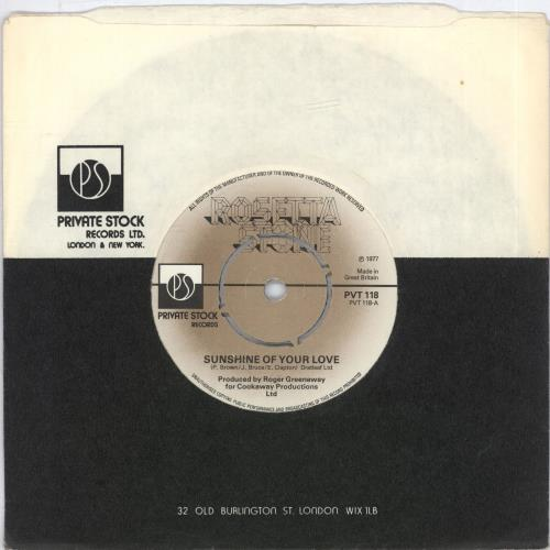 "Rosetta Stone (Pop) Sunshine Of Your Love - Band Logo Label 7"" vinyl single (7 inch record) UK RST07SU574776"