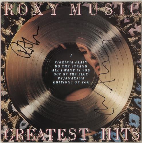 Roxy Music Greatest Hits - Autographed vinyl LP album (LP record) UK RXYLPGR741682
