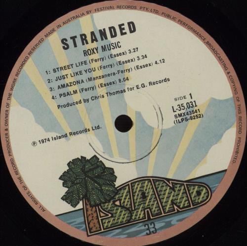Roxy Music Stranded Australian vinyl LP album (LP record