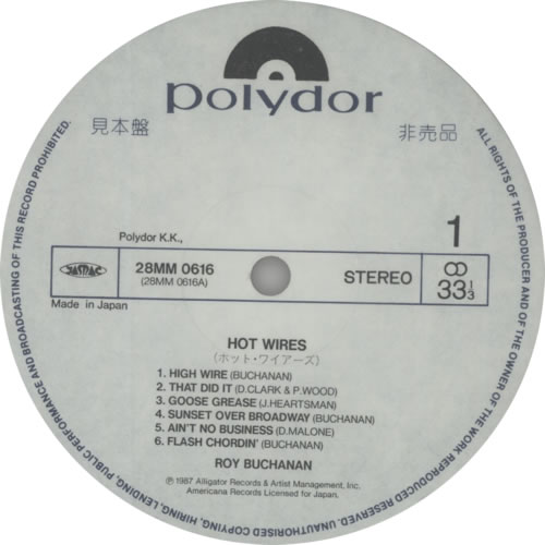 Roy Buchanan Hot Wires vinyl LP album (LP record) Japanese YBULPHO509067