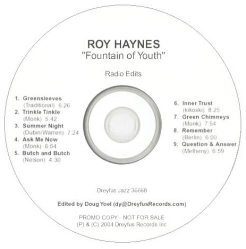 Roy Haynes Fountain Of Youth - Radio Edits CD-R acetate US RHACRFO529876