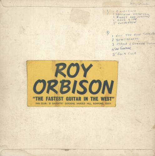 """Roy Orbison Deroy Sound Service Record 10"""" vinyl single (10"""" record) UK RYO10DE685953"""
