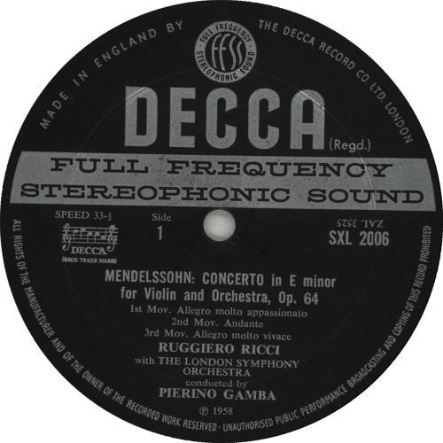 Ruggiero Ricci Mendelssohn And Bruch - Violin Concertos - DG WB ED2 vinyl LP album (LP record) UK XUJLPME656907