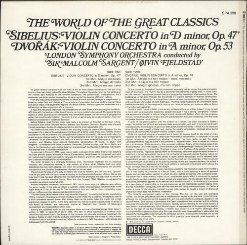 Ruggiero Ricci Sibelius & Dvorák Violin Concertos vinyl LP album (LP record) UK XUJLPSI701336