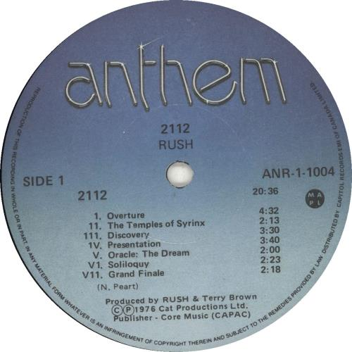 Rush 2112 (Twenty One Twelve) vinyl LP album (LP record) Canadian RUSLPTW573680