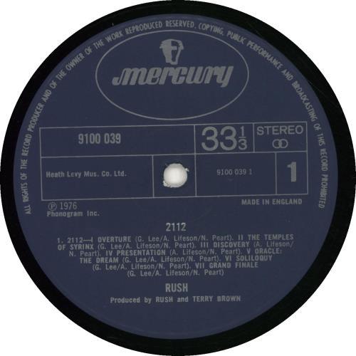 Rush 2112 [Twenty One Twelve] - VG vinyl LP album (LP record) UK RUSLPTW662524