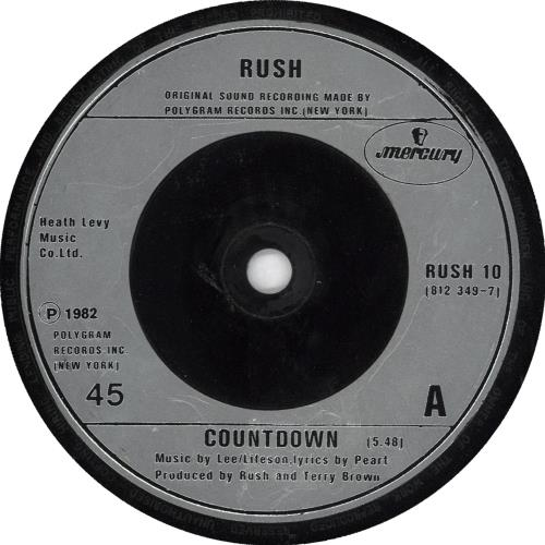 "Rush Countdown 7"" vinyl single (7 inch record) UK RUS07CO708146"