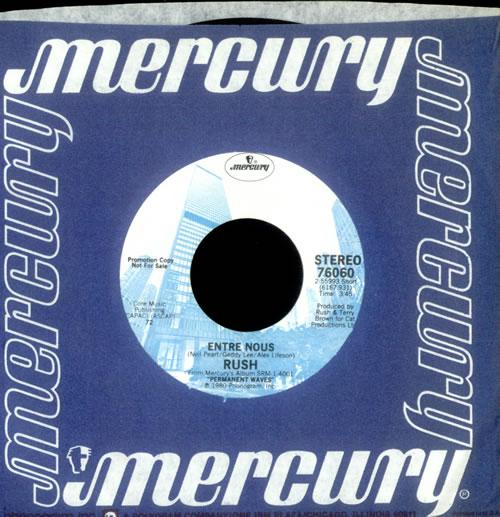 """Rush Entre Nous 7"""" vinyl single (7 inch record) US RUS07EN260351"""