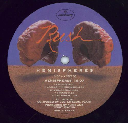 Rush Hemispheres vinyl LP album (LP record) US RUSLPHE770502