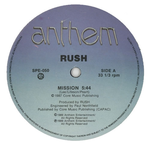 "Rush Mission 12"" vinyl single (12 inch record / Maxi-single) Canadian RUS12MI259826"