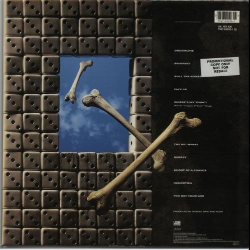 Rush Roll The Bones - Promo Stickered vinyl LP album (LP record) UK RUSLPRO653241