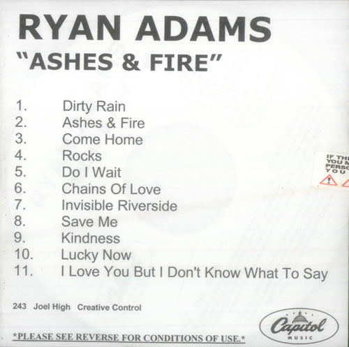 Ryan Adams Ashes & Fire CD-R acetate US YAACRAS548256