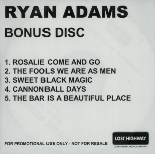 Ryan Adams Gold - Bonus Disc CD-R acetate UK YAACRGO585290