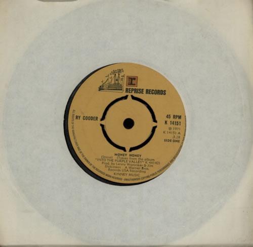 "Ry Cooder Money Honey 7"" vinyl single (7 inch record) UK RYC07MO587883"