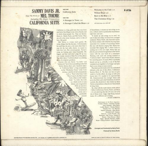 Sammy Davis Jr California Suite vinyl LP album (LP record) UK SJ5LPCA712178