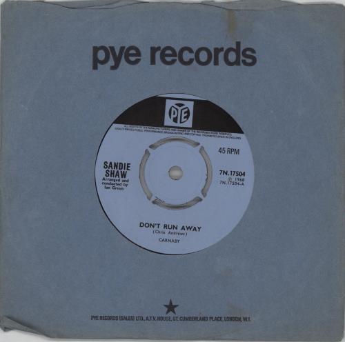 "Sandie Shaw Don't Run Away - 4pr 7"" vinyl single (7 inch record) UK SDI07DO753838"
