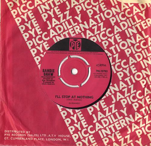 "Sandie Shaw I'll Stop At Nothing 7"" vinyl single (7 inch record) UK SDI07IL555639"