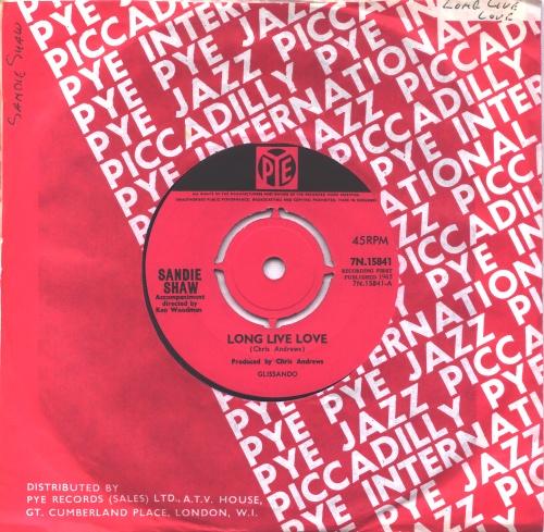 "Sandie Shaw Long Live Love - 4pr 7"" vinyl single (7 inch record) UK SDI07LO575568"
